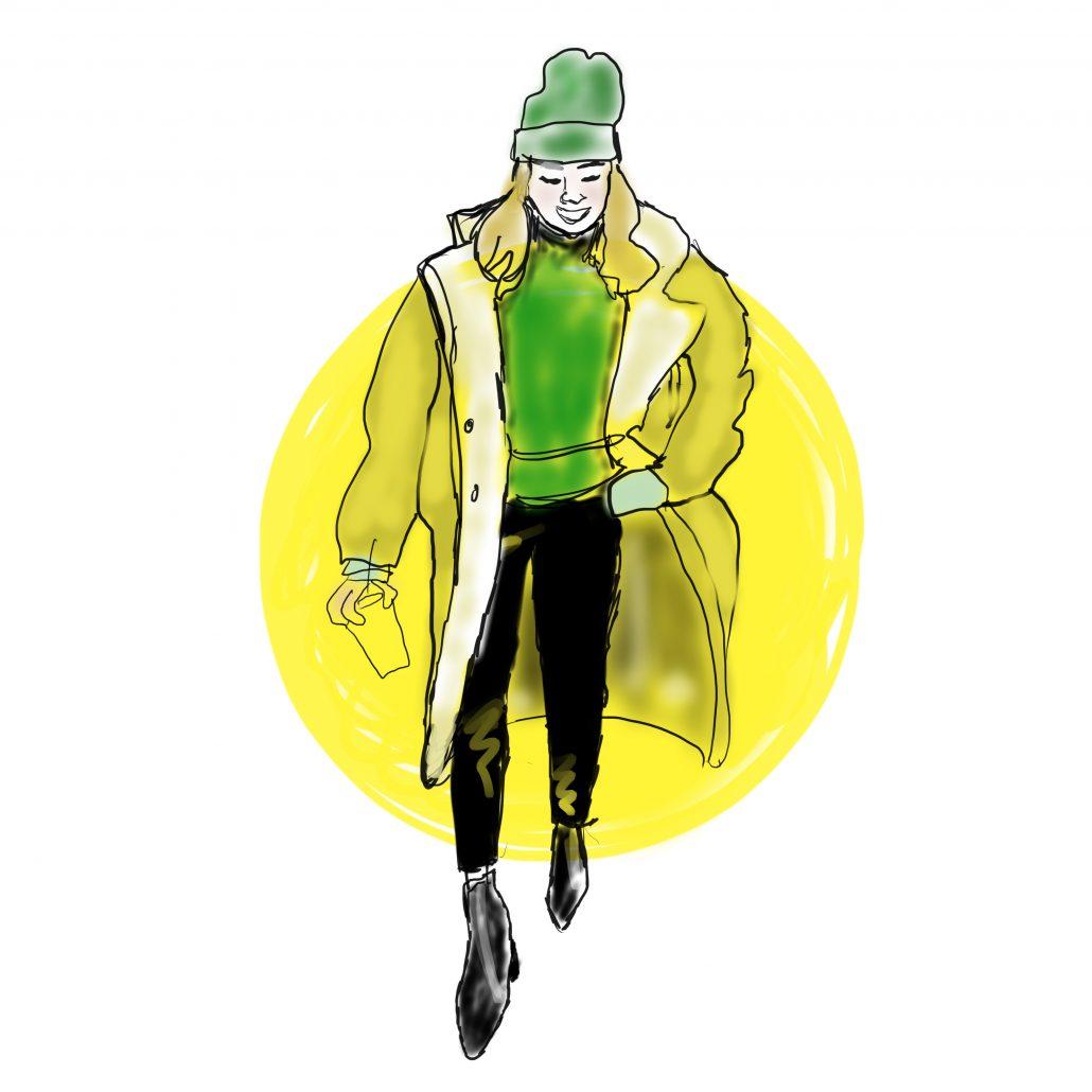 Lisbeth van Lintel yellow coat illustratie